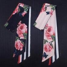 110*7cm 2018 New Design Skinny Women Tie Rose Flower Print Women Silk Scarf Fash