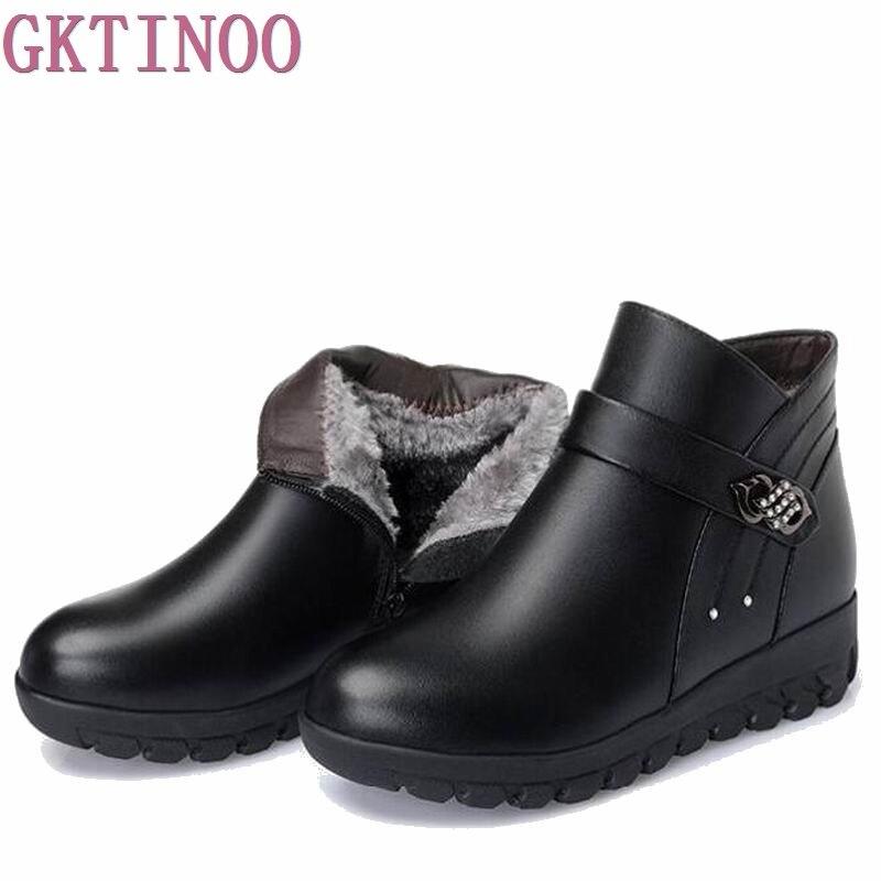Excellent De La Chance Women Boots 2017 New Fashion Leather Winter Boots For Women Casual Shoes Warm Wedge ...