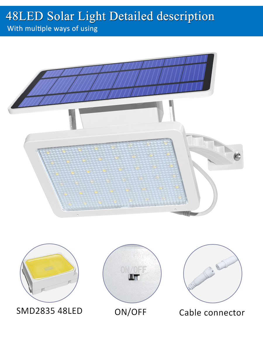800lm Solar Outdoor Light for with 48 LED With Adjustable Lighting Angle for Garden and Yard Security 8
