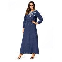 81d434788d2ee Deep Blue Plus Women Embroidery Muslim Arabic Dress Turkish Gown Dubai  Moroccan Kaftan Islamic Abaya Muslim