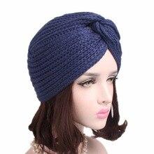 70f33f67ce8 Women Warm Knitted Hat Women Cross Knitted Turban Cap Head Wrap Headwear  Autumn Winter Accessories 1