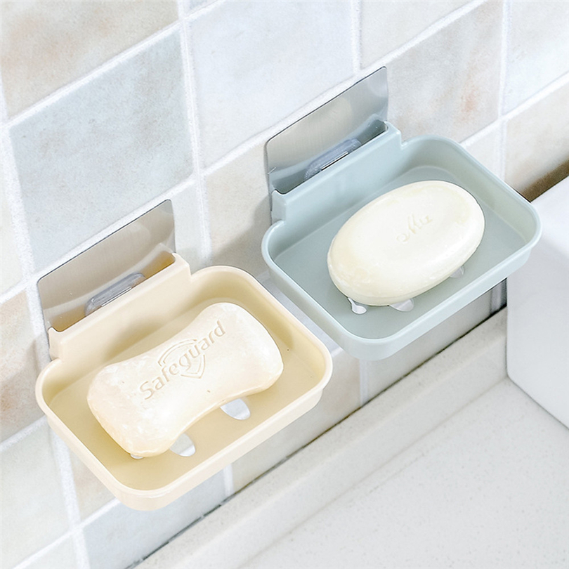 Sucker Soap Dish Bathroom Kitchen Wall-Mounted Drain Suction Cup Hollow Soap Shelf Holder Hanging Rack Holder Bathroom Organizer