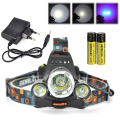 Boruit T6 +2R5 UV Purple LED Headlamp Rechargeable Headlight Bicycle Lamp For Amber/Scorpion With Charger 18650 Battery