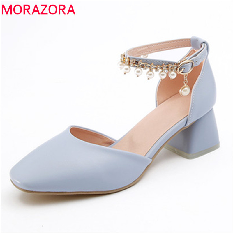 MORAZORA 2018 new arrive women sandals summer comfortable med heels shoes simple square toe sweet unique beading shoes woman memunia 2018 new arrive women summer sandals sweet bowknot casual shoes simple buckle comfortable square heele shoes woman