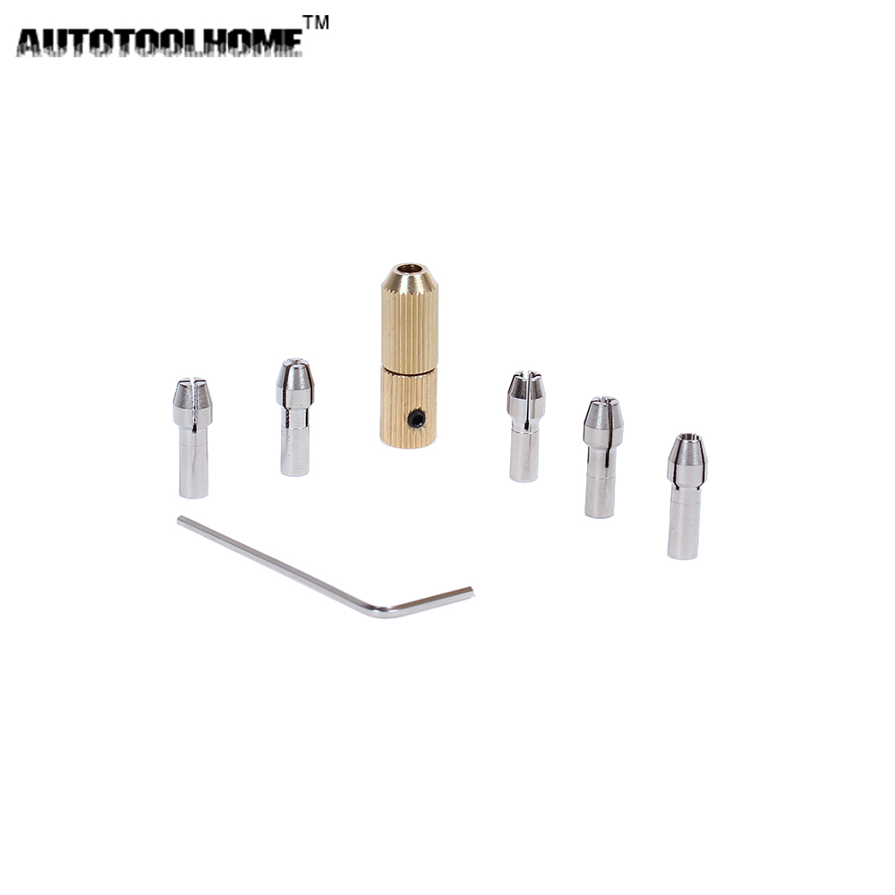 AUTOTOOLHOME Mini Copper Chuck with 5pc Brass Collets Set for 0.5-3.17mm Micro Twist Drill Bit Fit 2.3mm Electric Motor shaft skull motocycle cnc derby timing timer cover engine for harley xl xr sportster 883 1200 xl xl883 xl1200 forty eight seventy two