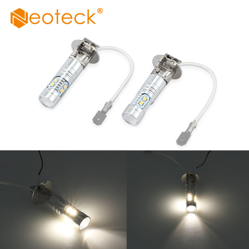 Neoteck 2 Pcs H3 50W High Power LED Xenon White Fog Light Bulb 6000k 10SMD Lamp 6000LM SMD 2323 Light Bulbs For 12V Car