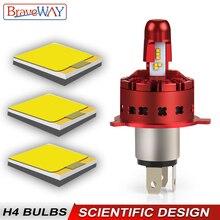 BraveWay ZES Hi-Lo Beam Super LED H4 Headlight for Motorcycle Light Bulb H4 6500K Light Automobile Farol LED Moto 12V Lamps цена