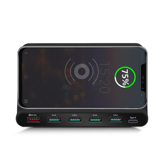 INGMAYA Qi Беспроводное зарядное устройство, мульти порт USB для быстрой зарядки USB Type C с функцией быстрой зарядки для iPhone X Samsung Huawei Nexus Ми USB C адаптер