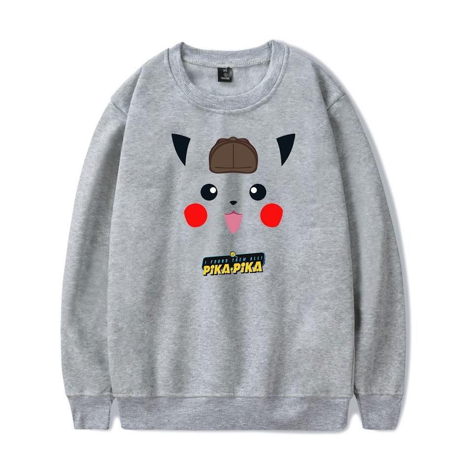 Pokemon Detective Pikachu Print O-neck Capless Hoodie Sweatshirt Harajuku Round Collar Unisex Men/Women Sweatshirt