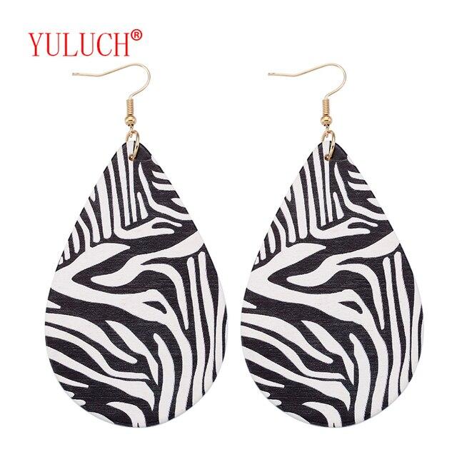 Yuluch brincos de madeira femininos, acessórios para joias de design popular africano natural pintado com zebra 1