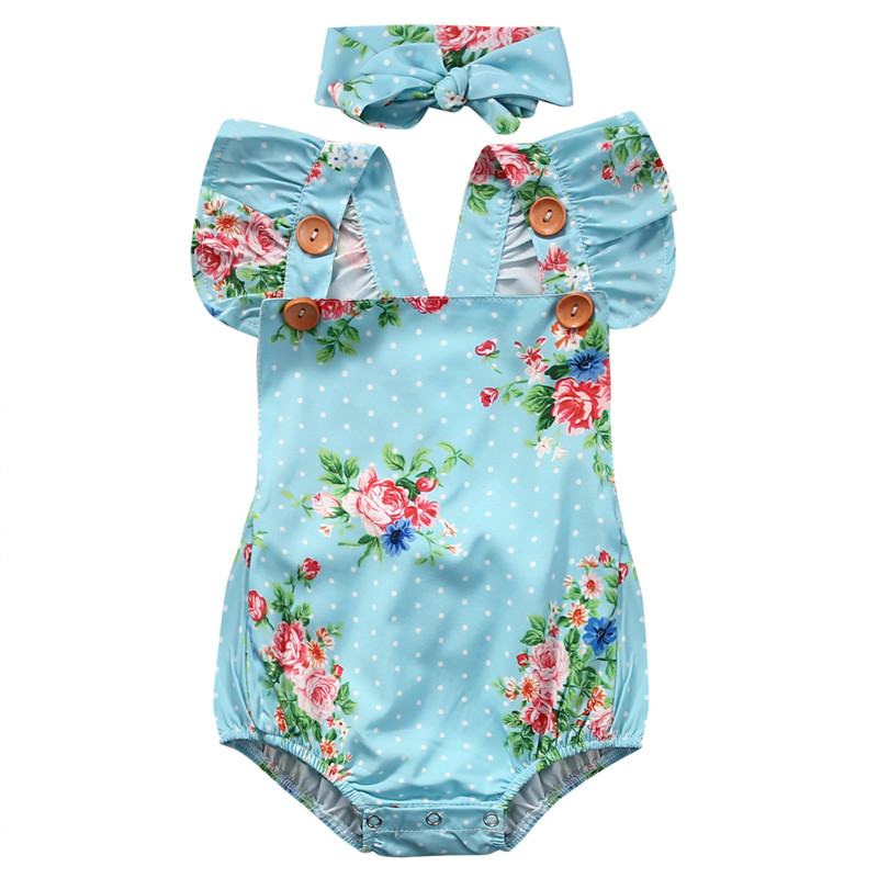 Summer Cute Baby   Rompers   2PCS Baby Girls Cute Floral Blue Ruffles Sleeve Backless   Romper   Headband Baby Costume