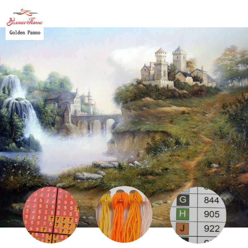 Golden Panno Needlework DIY DMC 14CT 11CT Printed Cross Stitch Embroidery Kits Tower White Canvas Counted 14