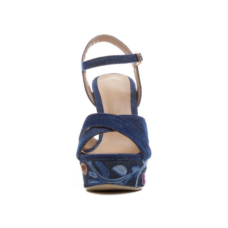 Bout Femmes 2018 Mode Denim Talons Broderie À forme Sandales Hauts Taille D'été Cales Chaussures Grande Dames Wetkiss Ouvert Bleu Plate xTwqZX