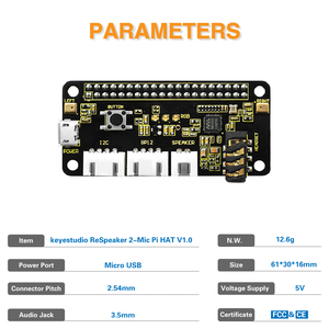 Image 5 - Keyestudio 5V ReSpeaker 2 Mic Pi HUT V 1,0 Expansion Board Für Raspberry Pi 4B/Null/Null W/B +/3B +/3B