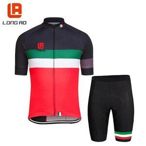 Итальянские национальные Трикотажные изделия для велоспорта, длинные велосипедные комплекты одежды с коротким рукавом, штаны с синими пер...