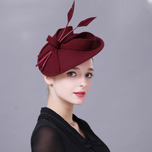 Fedoras Hat Red Fascinator For Women Elegant Church Wool Headpiece Wedding Fashion Headwear Lady Party Formal Hair Accessories