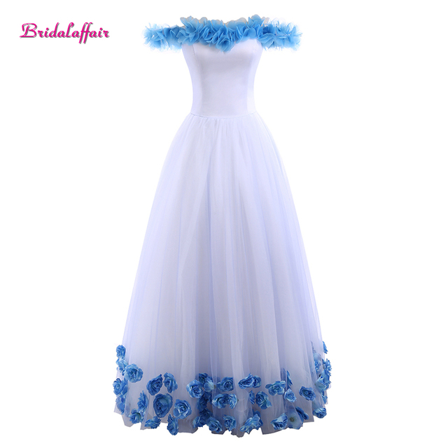 5840f020d Bridalaffair Real Photo Blue Rose Boat Neck Quinceanera Dresses 2017 Vestido  de festa Prom Dresses 15 Years Vestidos De 15 Anos