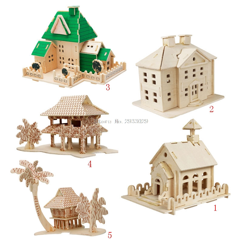 New DIY Construction 3D Wooden House Puzzle Building Model Toy Craft for Kids Adult -B116 qiyun 3 d wooden puzzle children and adult s educational building blocks puzzle toy pig model