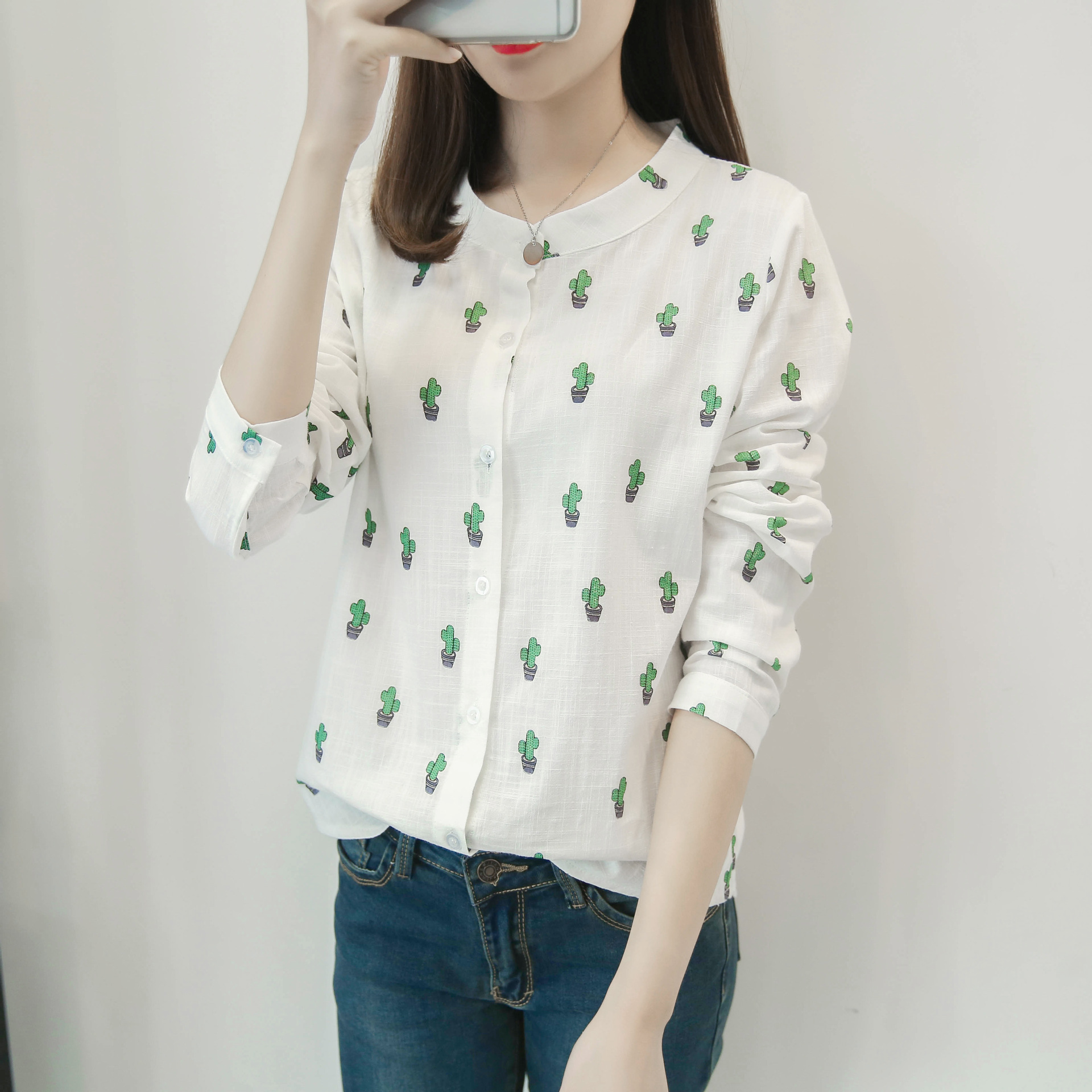 f35de4ff Detail Feedback Questions about 2017 Summer Casual Long Sleeve Women Top  White Floral Printing Button Plus Size Shirt Office Wear Ladies on  Aliexpress.com ...