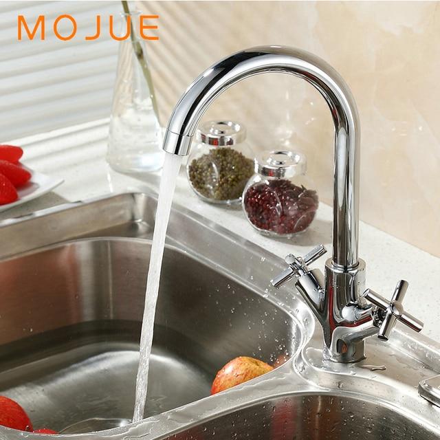 MOJUE sink faucet flexible Cold and Hot kitchen retro kitchen faucets cross handles faucet double handle MJ8251 & MOJUE sink faucet flexible Cold and Hot kitchen retro kitchen ...