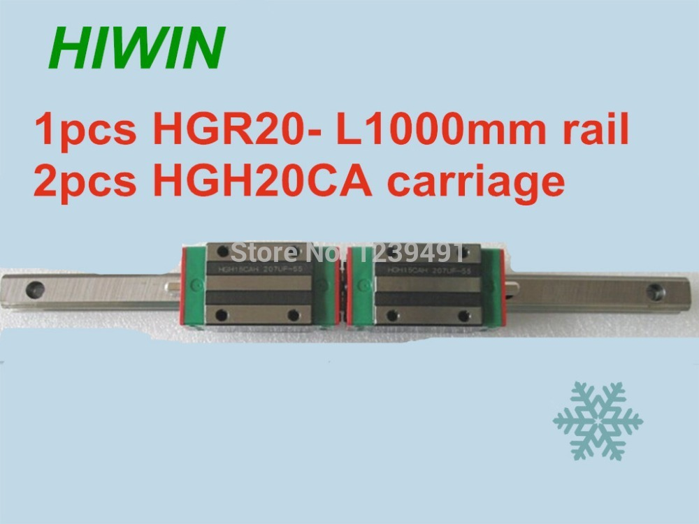 1pcs HIWIN linear guide HGR20 -L1000mm with 2pcs linear carriage HGH20CA CNC parts free shipping to argentina 2 pcs hgr25 3000mm and hgw25c 4pcs hiwin from taiwan linear guide rail