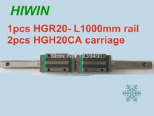 1pcs HIWIN linear guide HGR20 -L1000mm with 2pcs linear carriage HGH20CA CNC parts