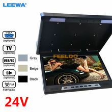 DC 24V 22″  22inch HD Roof Mounted Flip Down Touch-button Car Bus LCD Monitor TV USB SD FM VGA Speaker Black,Grey,Beige#CA1653-A