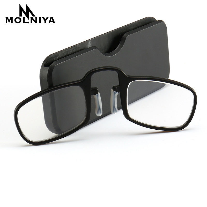 2019 New Design Clip Reading Glasses Men Women Mini Ultralight Sos Wallet Older Optics With Box Oculos De Grau Folding Glasse