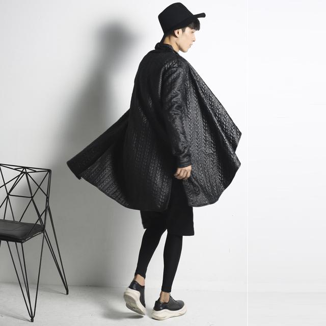 Hip Hop Streetwear Chaqueta de Abrigo Negro Trinchera Abrigo Chaqueta Outwear Chaqueta Hombre Estilo de Diseño Irregular Del Partido de Baile de Hip Hop