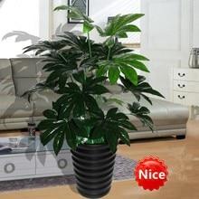 66 см латексная искусственная вечнозеленая пахира растение дерево в Свадебные дома пляж офисная мебель Декор Зеленая ветка Поддельные Листва