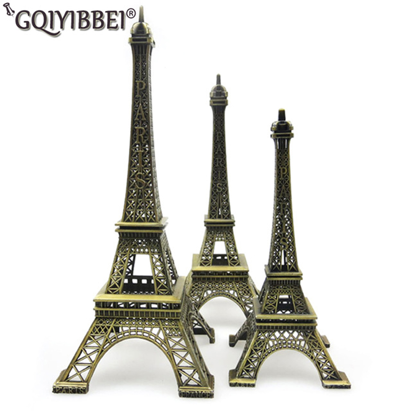 62cm Art Crafts Bronze Paris Eiffel Tower Model Ornaments Figurine Zinc Alloy Statue Travel Souvenirs Home