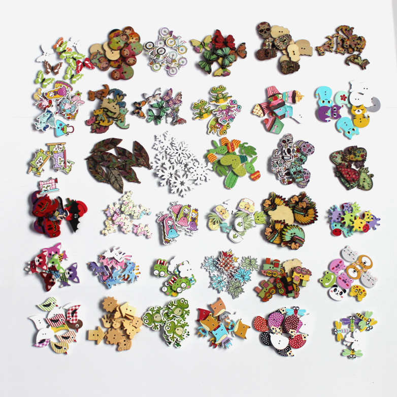 30/40/50pcs 2 Hole Wooden Buttons For Scrapbooking Crafts DIY Baby Children Clothing Sewing Decorative Button Animal L-4