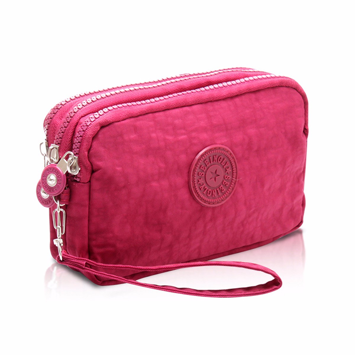 New Coin Purse Women Portabe Mobile Phone Bag Fashion Small Wallet Card Holder MultifunctionThree Zippers Mini Canvas Pouch