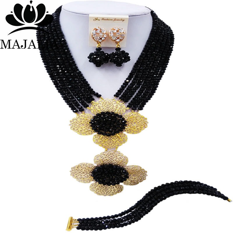 Majalia Classic Nigerian Wedding African Jewelery Set Black Crystal Necklace Bride Jewelry Set Free Shipping 6CL003