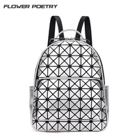 Women Backpack Geometric Patchwork Diamond Lattice Backpack ForTeenage Girl Famous Brand Bag Mochila Sac A Dos