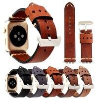 Retro Genuine Leather Loop Band For Apple Watch 42mm 38mm Fashion Handmade Genuine Leather Bracelet Belt