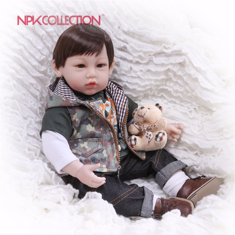 NPKCOLLECTION 2018 Reborn 55cm Soft Silicone Vinyl Dolls Bebe Reborn Baby Doll Newborn Lifelike Babies Reborn Dolls Kids Toys 55cm doll reborn babies full soft silicon lifelike newborn baby dolls baby reborn simulation toys gift for children partner