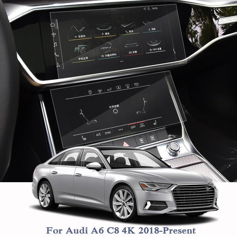 Car GPS Navigation Screen Film For Audi A6 C8 4K 2018-Present Dashboard Glass Display Screen Film Climate Control Accessories