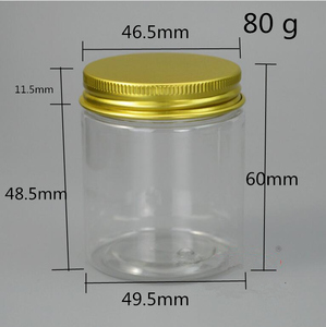 Image 5 - Free Shipping 30 pcs  40 50 80 g/ml Empty canister clear Plastic jars For Spices Cream Storage Sample gold lid Containers