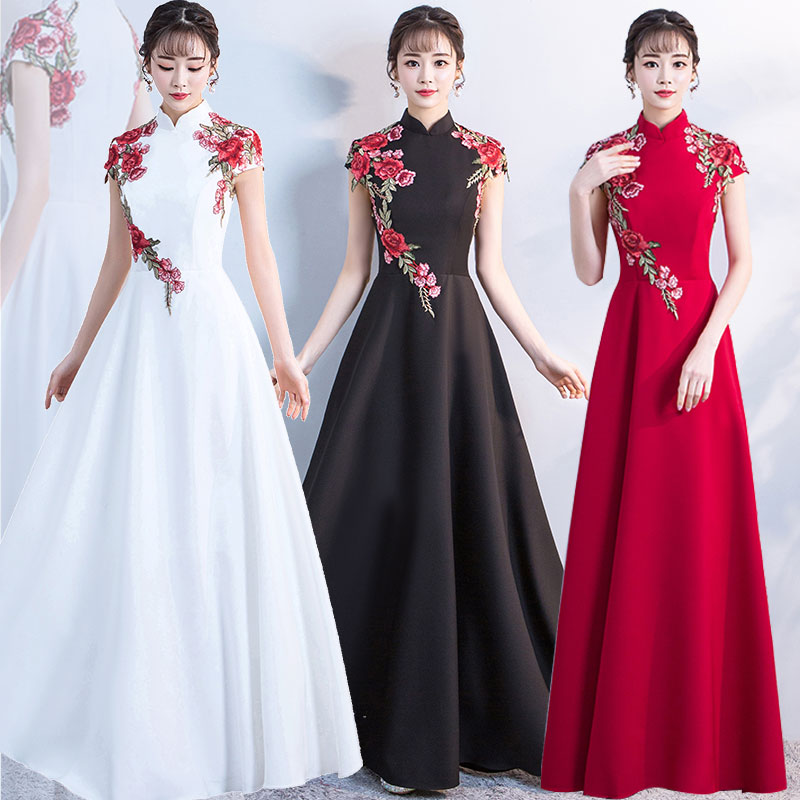 Chinese New Chorus Costume Long Skirt Adult Dress Costume Performance Dress for Adult Women Stage Performance
