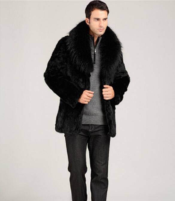 Зимние Утепленные тепловой норки волос кроличий мех кожаная куртка мужская повседневная пальто мужские средней длины пальто Верхняя одежд...