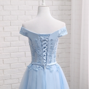 Image 5 - MNZ502L # sukienki druhen zasznurować krótki średniej długości na imprezę bal sukienka niebieski fasola wklej szampana Plus rozmiar niestandardowe darmowa wysyłka