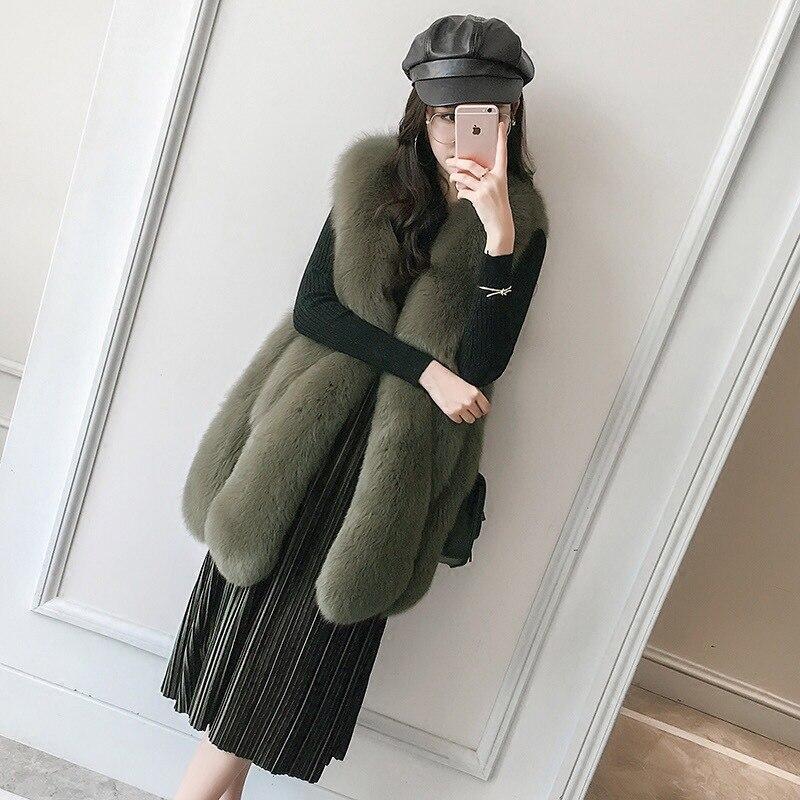 2018 nuovo grande goccia di fox gilet di pelliccia vera pelliccia cappotto lungo delle ragazze gilet di pelliccia di Volpe atmosfera di Moda