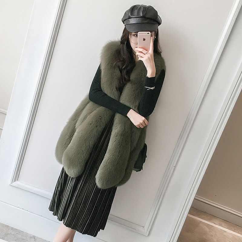 2018 yeni büyük damla tilki kürk yelek gerçek kürk ceket kızlar uzun kürk yelek tilki moda atmosferi