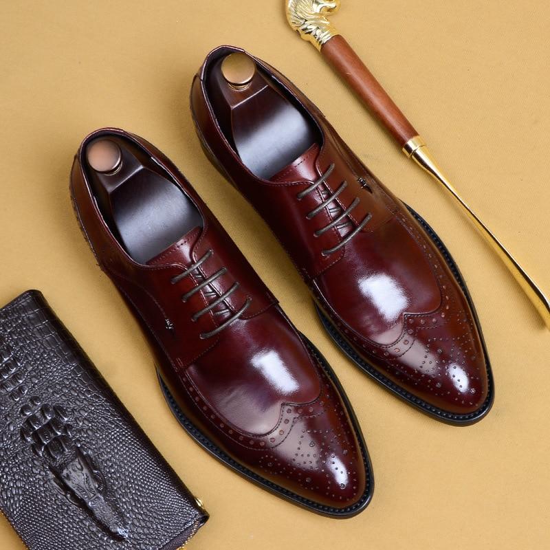 Ayakk.'ten Resmi Ayakkabılar'de Erkek deri ayakkabı iş elbise suit ayakkabı erkekler marka Bullock hakiki deri siyah kayma düğün erkek ayakkabı Phenkang'da  Grup 1