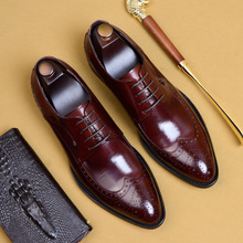 Men leather shoes business dress suit men brand Bullock genuine black slipon wedding mens Phenkang