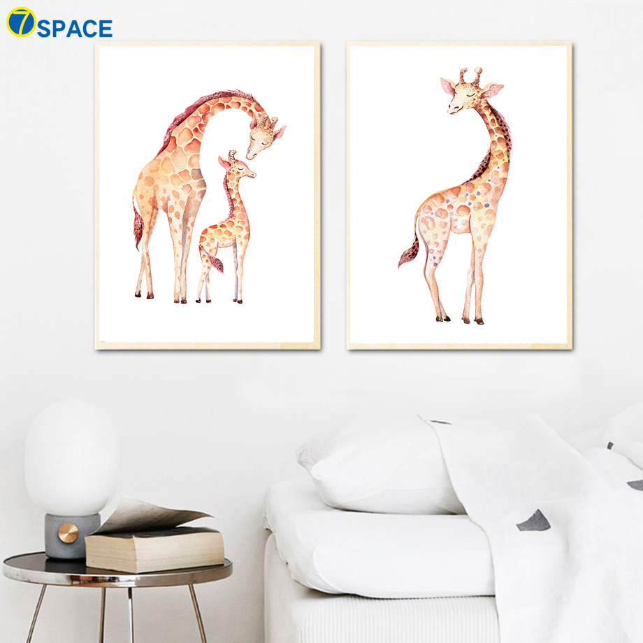 Cute Giraffe Family Nursery Art Prints Nordic Posters And Prints Wall Art Canvas Painting Wall Pictures Baby Girl Boy Room Decor in Painting Calligraphy from Home Garden