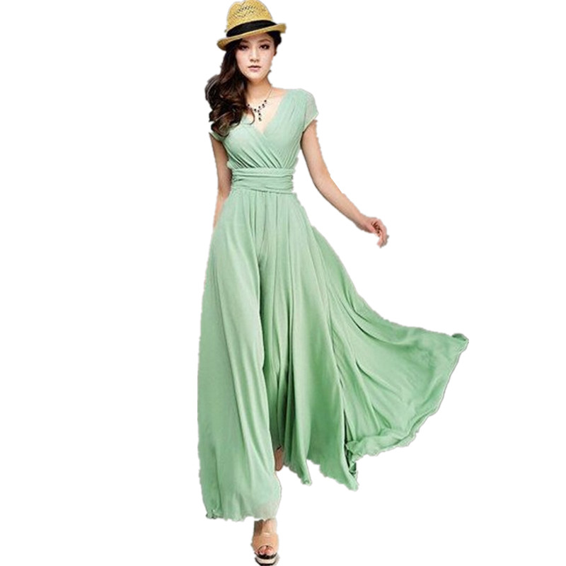 Womens Summer Dress Bohemian Long Maxi Sexy Evening Party V Neck Chiffon Pleated Short Sleeve Dresses Vestidos