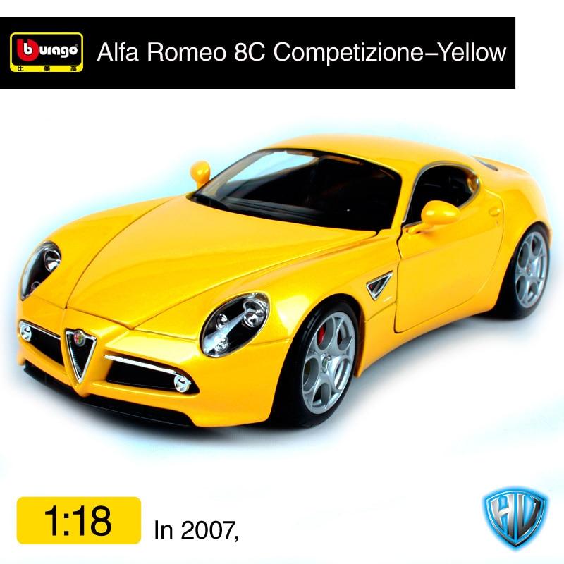 Bburago 1:18 alfa romeo 2007 8c competizione rood geel auto diecast 230*110*57mm open covers auto model gift voor fans 12077-in Diecast & Speelgoed auto´s van Speelgoed & Hobbies op  Groep 2