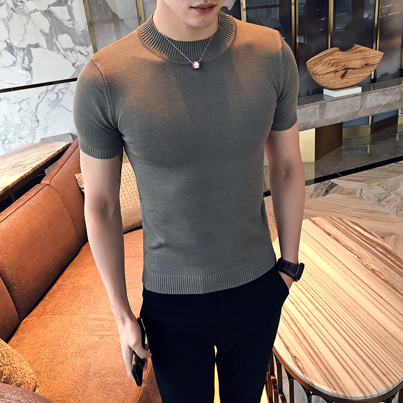 2019 Premium Brand Fashion Male Summer Slim Casual Knit Shirts/Men's High Quality Round Collar  Short Sleeve Sweaters Tops S-XXL